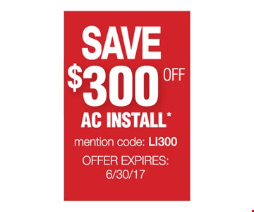 Save $300 Off AC Install