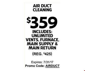 $359 on air duct cleaning