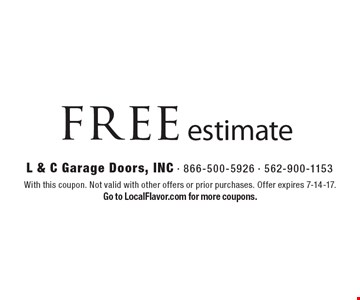 free estimate. With this coupon. Not valid with other offers or prior purchases. Offer expires 7-14-17. Go to LocalFlavor.com for more coupons.