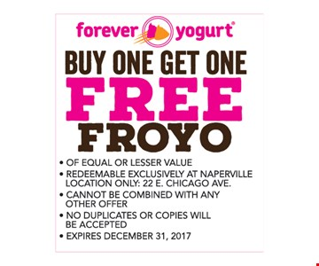 Buy one get one free froyo