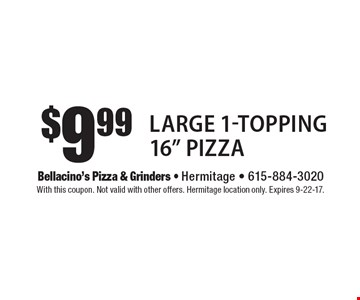 $9.99 Large 1-Topping 16