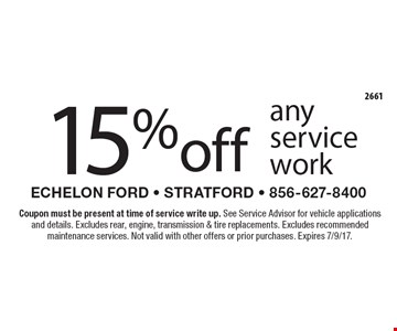 15% off any service work. Coupon must be present at time of service write up. See Service Advisor for vehicle applications and details. Excludes rear, engine, transmission & tire replacements. Excludes recommended maintenance services. Not valid with other offers or prior purchases. Expires 7/9/17.