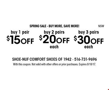 SPRING SALE - BUY MORE, SAVE MORE! Buy 3 pairs $30 OFF each.  Buy 2 pairs $20 OFF each. Buy 1 pair $15 OFF. With this coupon. Not valid with other offers or prior purchases. Expires 8/18/17. NSW