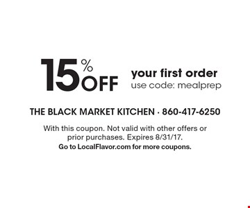 15% off your first order. Use code: mealprep. With this coupon. Not valid with other offers or prior purchases. Expires 8/31/17. Go to LocalFlavor.com for more coupons.