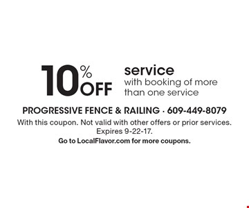 10% Off service with booking of more than one service. With this coupon. Not valid with other offers or prior services. Expires 9-22-17. Go to LocalFlavor.com for more coupons.
