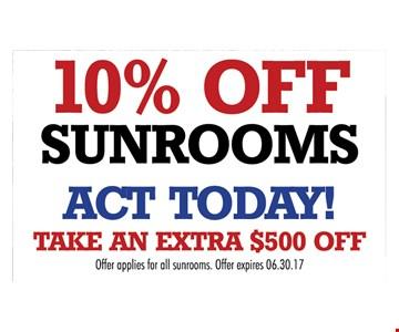 10% off sunrooms