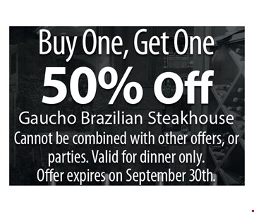 Buy one, Get One 50% Off  Cannot be combined with other offers, Or parties.