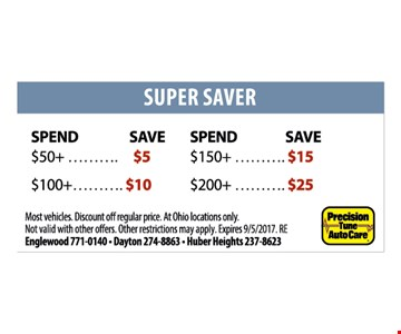 Super Saver up to $25. Spend $50 save $5, Spend $100 save $10, Spend $150, save $15, Spend $200, save $25. Most vehicles. Discount off regular price. At Ohio locations only. Not valid with other offers. Other restrictions may apply. Expires 9/5/17