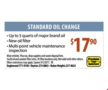 Standard Oil Change $17.90. Up to 5 quarts of major brand oil. New oil filter. Multi-point vehicle maintenance inspection. Most vehicles. Plus tax, shop supplies and waste disposal fees. 5w20 oil and canister filter extra. At Ohio locations only. Not valid with other offers. Other restrictions may apply. Expires 9/5/17
