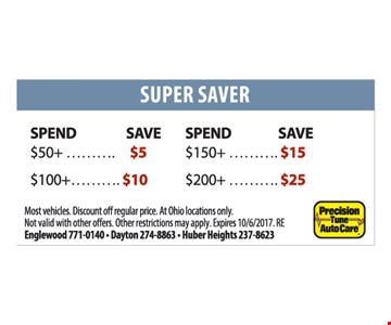 Super Saver. Spend $50+ Save $5. Spend $100+ Save $10. Spend $150+ Save $15. Spend $200+ Save $25. Other restrictions may apply.