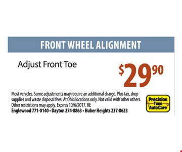 Front Wheel Alignment. Adjust Front Toe. $29.90. Other restrictions may apply.