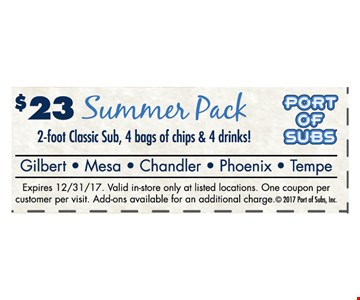 $23 Summer park  2-foot classic sub, 4 bags of chips & 4 drinks!