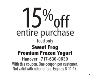 15%off entire purchase food only. With this coupon. One coupon per customer. Not valid with other offers. Expires 8-11-17.