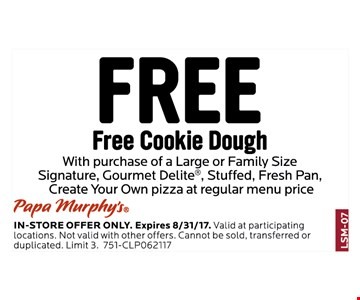 Free cookie dough with purchase of large or family size