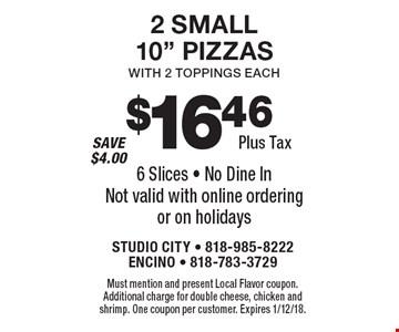 $16.46 Plus Tax 2 Small 10