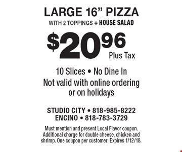 $20.96 Plus Tax Large 16