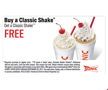 Buy a Classic Shake Get a Classic Shake Free