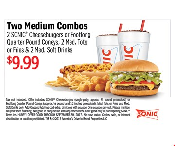 Two Medium Combos $9.99