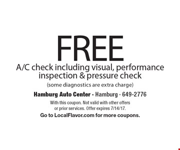 FREE A/C check including visual, performance inspection & pressure check (some diagnostics are extra charge). With this coupon. Not valid with other offers or prior services. Offer expires 7/14/17. Go to LocalFlavor.com for more coupons.