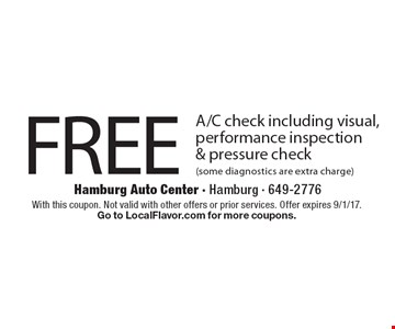 FREE A/C check including visual, performance inspection & pressure check (some diagnostics are extra charge). With this coupon. Not valid with other offers or prior services. Offer expires 9/1/17. Go to LocalFlavor.com for more coupons.