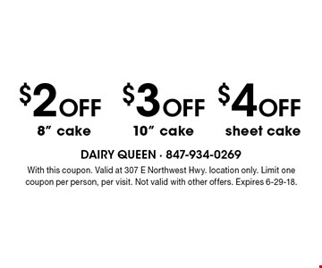 $4 Off sheet cake OR $3 Off 10