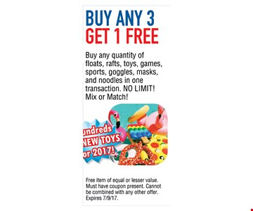 Buy any 3 Get 1 Free