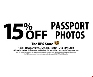 15% off Passport Photos. Limit one coupon per customer. Not valid with other offers. Restrictions apply. Valid and redeemable at this location only. The UPS Store centers are independently owned and operated. 2017 The UPS Store, Inc.