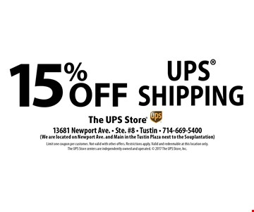 15% off UPS Shipping. Limit one coupon per customer. Not valid with other offers. Restrictions apply. Valid and redeemable at this location only. The UPS Store centers are independently owned and operated. 2017 The UPS Store, Inc.