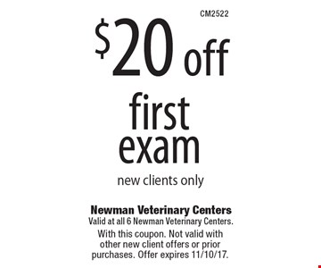 $20 off first exam new clients only. With this coupon. Not valid with  other new client offers or prior purchases. Offer expires 11/10/17.