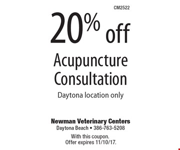 20% off Acupuncture Consultation. Daytona location only. With this coupon. Offer expires 11/10/17.