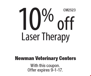 10% off Laser Therapy. With this coupon. Offer expires 9-1-17.