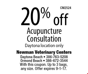20% off Acupuncture ConsultationDaytona location only. With this coupon. Up to 3 bags, any size. Offer expires 9-1-17.