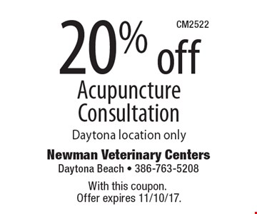 20% off Acupuncture Consultation Daytona location only. With this coupon. Offer expires 11/10/17.