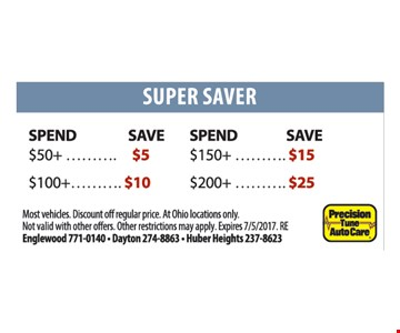 Spend $50+ save $5, Spend $100+ save $10, Save $150+ save $15, Spend $200+ save $25