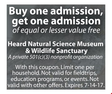 Buy One Admission, Get One Admission Of Equal Or Lesser Value Free