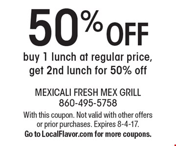 50% OFF buy 1 lunch at regular price, get 2nd lunch for 50% off. With this coupon. Not valid with other offers or prior purchases. Expires 8-4-17. Go to LocalFlavor.com for more coupons.