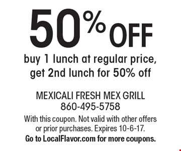50% Off Lunch. Buy 1 Lunch At Regular Price, Get 2nd Lunch For 50% Off. With this coupon. Not valid with other offers or prior purchases. Expires 10-6-17. Go to LocalFlavor.com for more coupons.