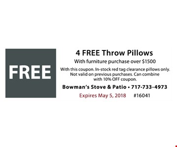 free 4 free throw pillows with furniture purchase over $1500