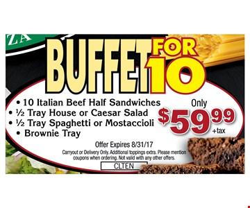 Buffet for 10 $59.99