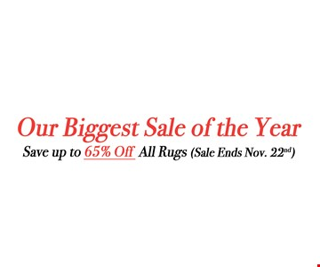 Save up to 65% off all rugs