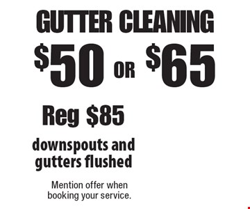 $50 OR $65 Gutter Cleaning. Reg $85. Downspouts and gutters flushed. 