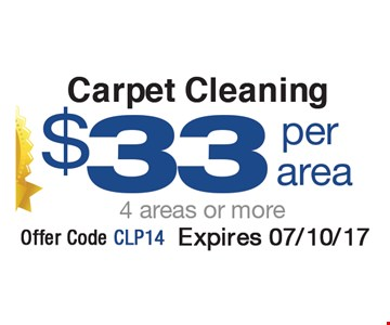 $33 Carpet Cleaning per area (4 areas or more)