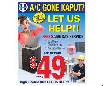 $49 A/C repair
