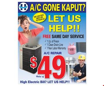 A/C gone Kaput? $49