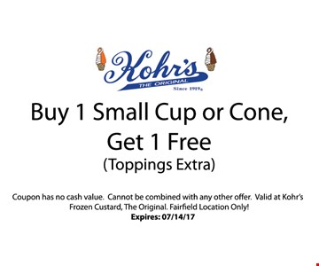 Buy 1 Small Cup or Cone Get 1 Free