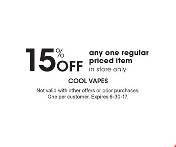 15% OFF any one regular priced item in store only. Not valid with other offers or prior purchases. One per customer. Expires 6-30-17.