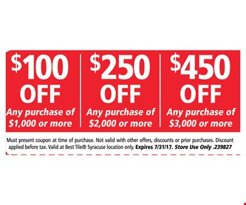 Up to $450 off any purchase.