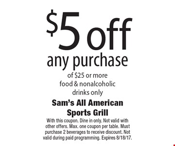 $5 off any purchase of $25 or more. Food & nonalcoholic drinks only. With this coupon. Dine in only. Not valid with other offers. Max. one coupon per table. Must purchase 2 beverages to receive discount. Not valid during paid programming. Expires 8/18/17.