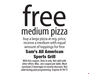 Free medium pizza. Buy a large pizza at reg. price, receive a medium with equal amount of toppings for free. With this coupon. Dine in only. Not valid with other offers. Max. one coupon per table. Must purchase 2 beverages to receive discount. Not valid during paid programming. Expires 8/18/17.