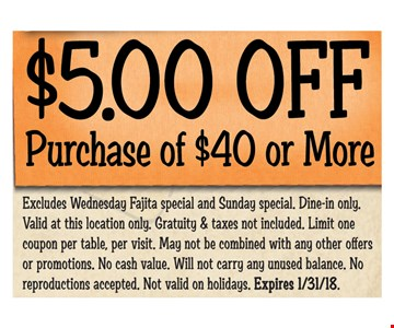 $5 Off purchase of $40 or more